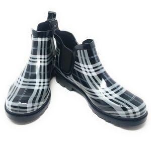 Women's Ankle Rubber Rain Boots, #3168, Plaid